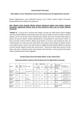 BESYO Ön Değerlendirme Sonuçları