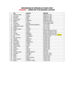 2-Doçent Öğretim Üyelerinin Listesi