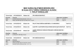 30 Aralık 2014 TARİHLİ KIRIKKALE-ALİAĞA 1.TEKLİF