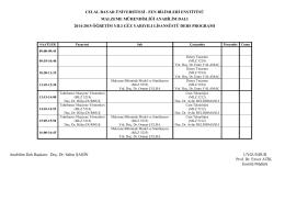 2014-2015 Güz Dönemi Lisansüstü Ders Programı