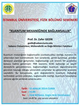 Slayt 1 - Fen Fakültesi - İstanbul Üniversitesi