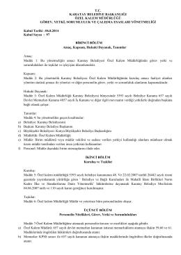tc karatay belediye başkanlığı özel kalem müdürlüğü görev, yetki
