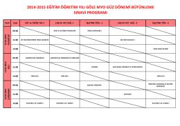 2014-2015 eğitim öğretim yılı göle myo güz dönemi bütünleme