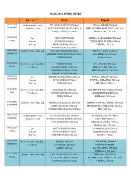 ocak 2015 yemek listesi kahvaltı öğle akşam