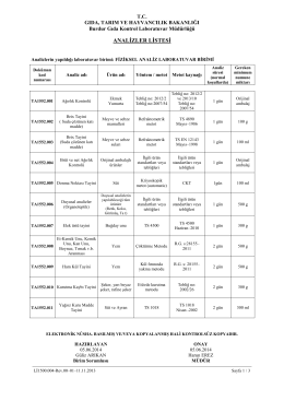 fiziksel analizler listesi - Gıda Kontrol Laboratuvar Müdürlükleri