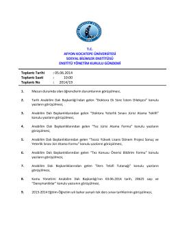 05.06.2014 Tarih ve 2014-19 Sayılı Karar