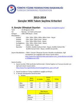 2013-‐2014 Gençler Milli Takım Seçilme Kriterleri