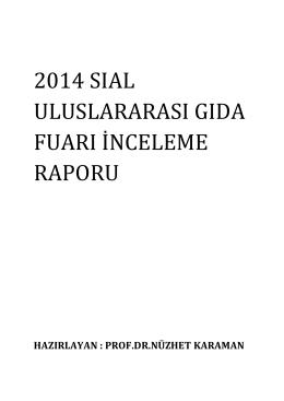 2014 sıal uluslararası gıda fuarı inceleme raporu