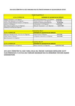 2014-2015 öğretim yılı güz yarılı ekle