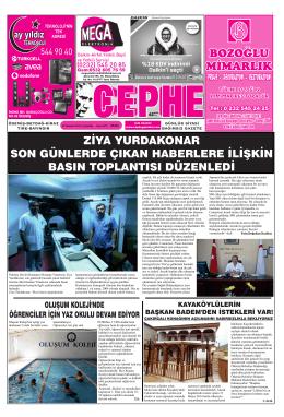 16.07.2014 Tarihli Cephe Gazetesi