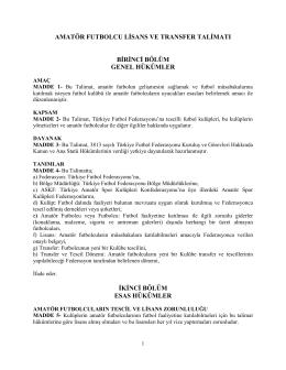 amatör futbolcu lisans ve transfer talimatı