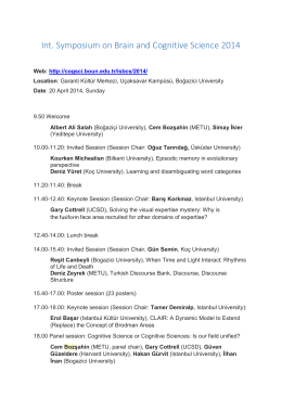 Int. Symposium on Brain and Cognitive Science 2014
