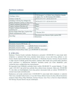 Borçlanma Aracına İlişkin SPK Başvurusu, 17 Haziran 2014