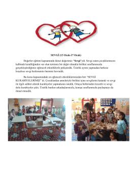 SEVGİ (13 Ocak-17 Ocak) Değerler eğitimi kapsamında ikinci