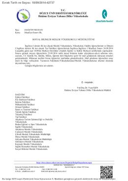 Muafiyet Sınavı Hk. - Düzce Üniversitesi Sosyal Bilimler Meslek