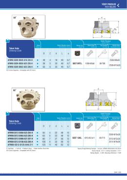 YÜZEY FREZELER FACE MILLING AFM90-SE09-D040-A16