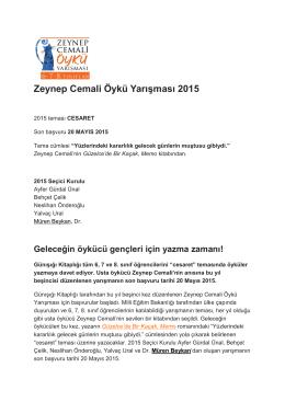 Zeynep Cemali Öykü Yarışması 2015