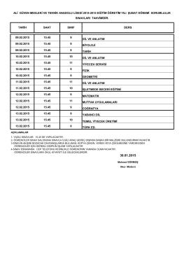 09.02.2015 15.45 9 dil ve anlatım 09.02.2015 15.45 9 biyoloji 09.02