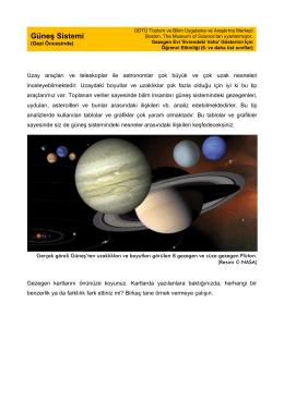 Güneş Sistemi [Gezegen Evi: `Evrendeki Vaha` gösterimi için] [ 6. ve