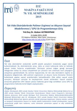 İTÜ Özet Özgeçmiş - İstanbul Teknik Üniversitesi