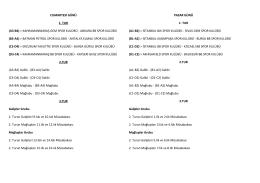 CUMARTESİ GÜNÜ 1. TUR (A3-B4) > KAHRAMANMARAŞ GEM