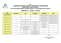 Optisyenlik 2. Sınıf 1. Grup (Bahar Dönemi-4. Yarıyıl)