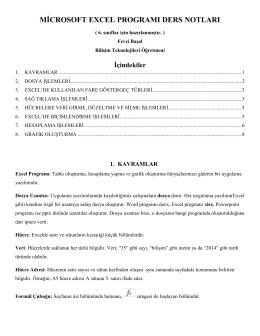 Excel Sınavı İçin Ders Notları