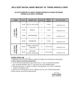 bolu izzet baysal abant mesleki ve teknik anadolu lisesi 11.02.2015