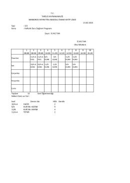 Sayı : 121 Konu : Haftalık Ders Dağıtım Programı 1 08.00 2 08.50 3