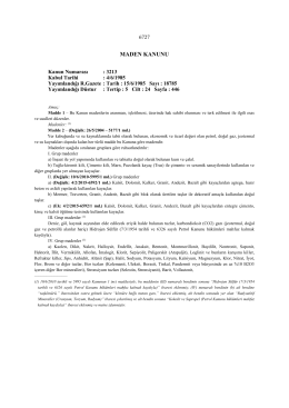 3213 sayılı yeni maden kanunu - Maden İşleri Genel Müdürlüğü