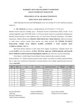 sözleşmeli ahşap teknisyeni aday tespit listesi ilanı 18.02.2015