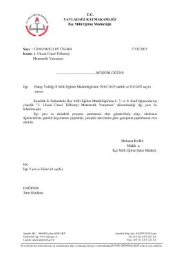 T.C. YAYLADAĞI KAYMAKAMLIĞI İlçe Milli Eğitim Müdürlüğü Sayı