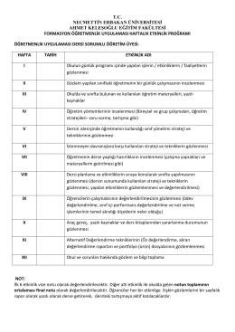 Öğretnelik Uygulama Etkinlik Formu