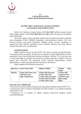 TİG Klinik Veri Validasyon Çalışma Eğitim Katılımcı Listesi için