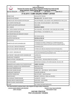 27.02.2015 - Kartal Koşuyolu Yüksek İhtisas Eğitim ve Araştırma