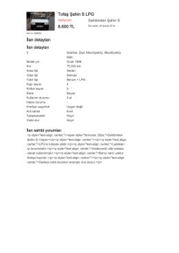 Tofaş Şahin S LPG 8.600 TL İlan detayları
