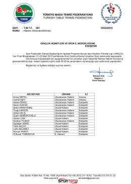 Eskişehir Hakem Görevleri - Türkiye Masa Tenisi Federasyonu