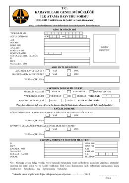 tc karayolları genel müdürlüğü ilk atama başvuru formu