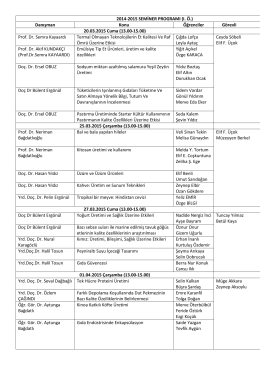 2014-2015 Seminer Programı revize edilmiştir