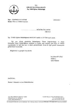 pisa ve tımss sınavları - erzurum - aşkale ilçe millî eğitim müdürlüğü
