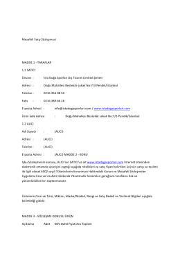 Mesafeli Satış Sözleşmesi MADDE 1