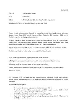 TFF Riva Tesisleri 288 Metrekare Prefabrik Yap
