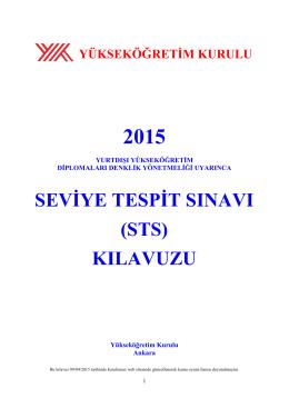 2015 STS Kılavuzu Yayımlandı
