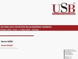ISO 9001 Kalite ve ISO 14001 Çevre Yönetim Sistemi Standartları