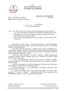 Okul Sütü Programı Teslimatları Bakanlık Yazısı 14.04.2015