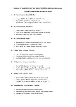şiir - mektup - hadis-i şerif ezberleme yarışması sonuç listesi