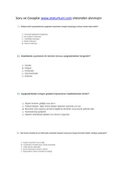 Soru ve Cevaplar www.ataturkuni.com sitesinden alınmıştır