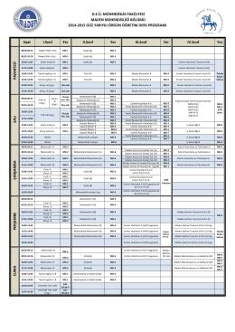 2014-2015 Güz Dönemi Örgün Öğretim Ders Programı