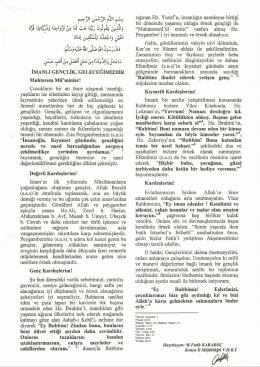 4 i» ^ l2U] ^.S-^lj ULU-ij İMANLI GENÇLİK, GELECEĞİMİZDİR