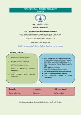 Kasım 2014 Hidroloji Bülteni - Devlet Su İşleri Genel Müdürlüğü